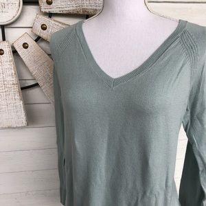 Seafoam Green V Neck Sweater